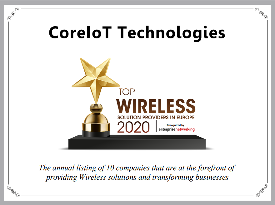 CoreIoT Technologies Ltd. recognized as a Top 10 Wireless Solution Provider in 2020
